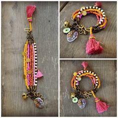Rustico multi etnica filo bracciale Hippie Boho di BeadStonenSkin
