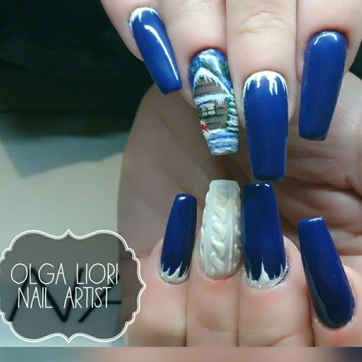 Blue nails nail art