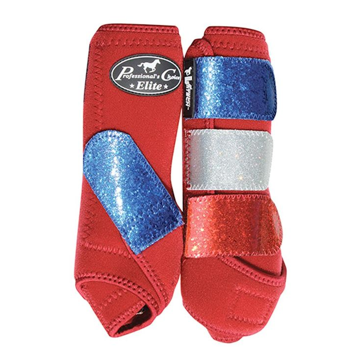 Limited Edition Red, White, and Blue Horse Boots from Professional's Choice VenTech Glitter Elite SMB- Medium SP/CR
