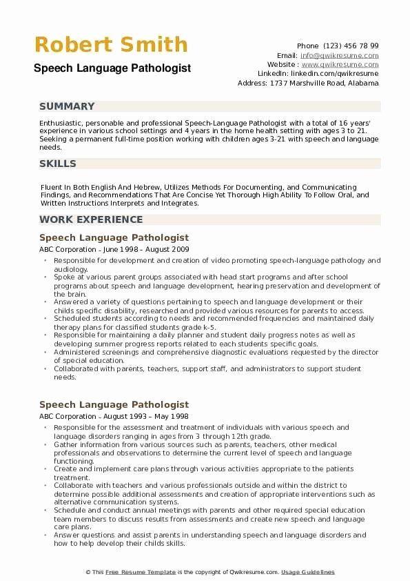 Speech Language Pathologist Resume Unique Speech Language Pathologist Resume Samples Speech And Language Speech Language Pathologists Speech Language Pathology