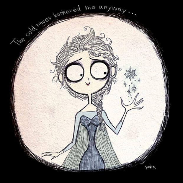 Inspirada pela animação Frozen da Disney, essa artista transformou os desenhos no estilo de Tim Burton: http://followthecolours.com.br/art-attack/ilustradora-recria-personagens-de-frozen-inspirados-em-tim-burton/