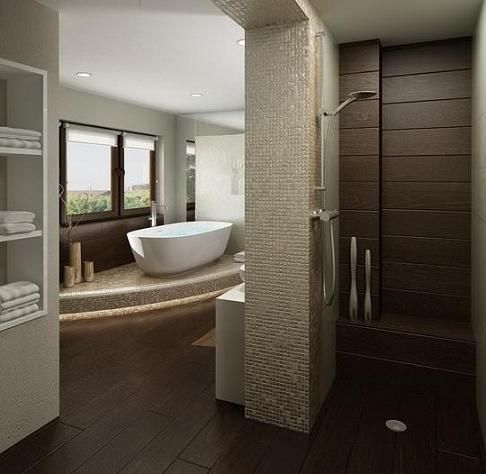 captivating stone tile bathroom accent wall ideas | The Wood Floor And Accent Tile, Stone Mosaic, And Stucco ...