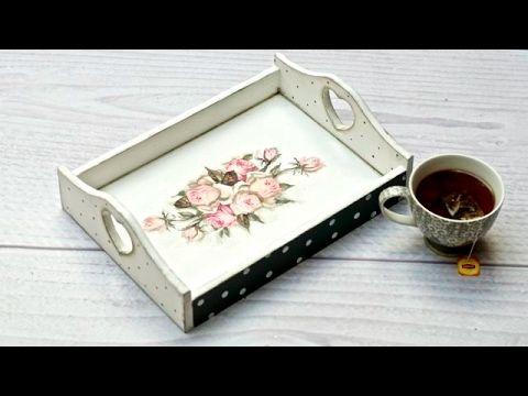 Decoupage taca z różami - tutorial  DIY - YouTube