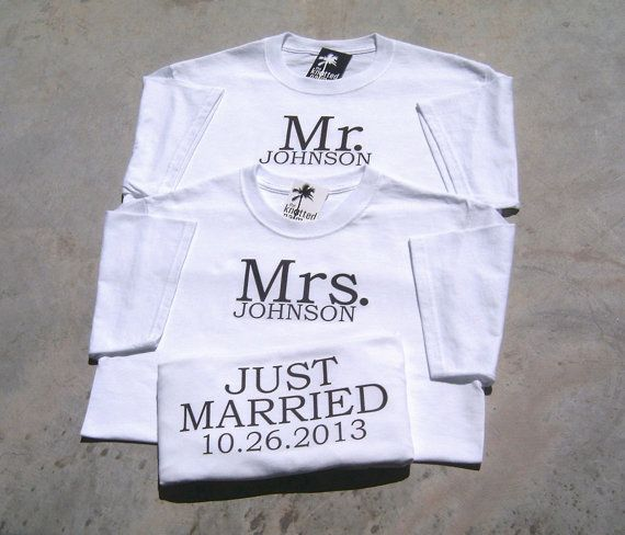 Personalized Mr and Mrs Just Married Wedding T-Shirts : TWO T-SHIRT SET
