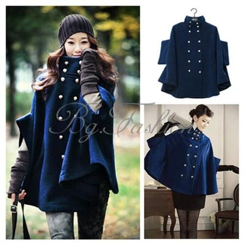 Womens Princess Wool Double Breasted Poncho Cape Jacket Mantle ...