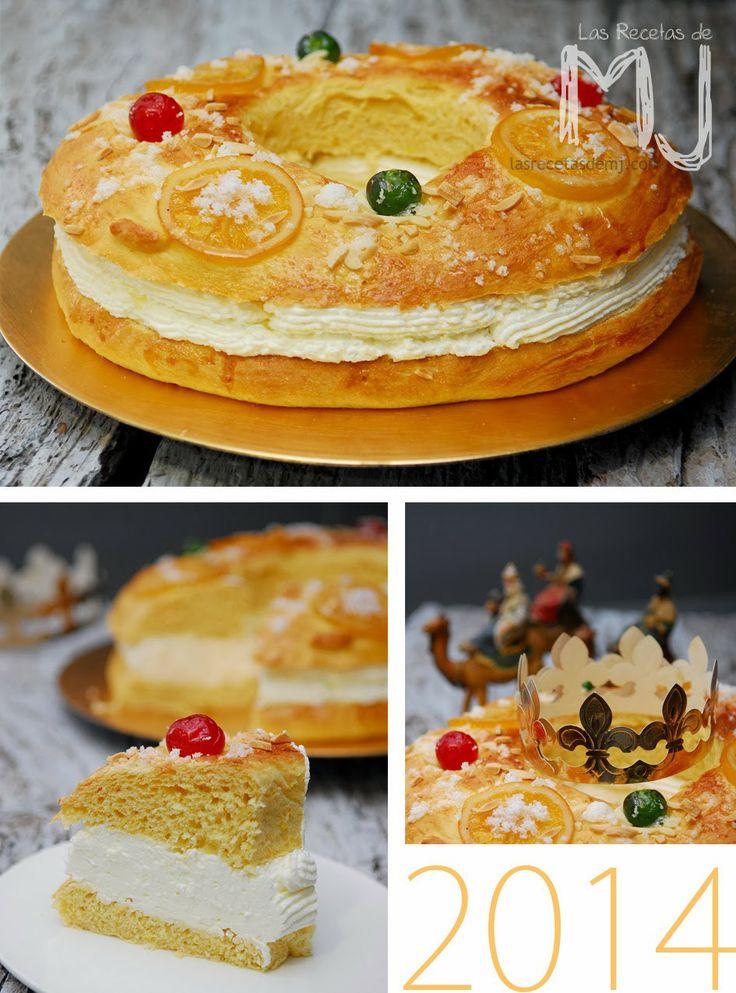 Roscón de Reyes relleno de nata / Twisted roll of kings cream filling