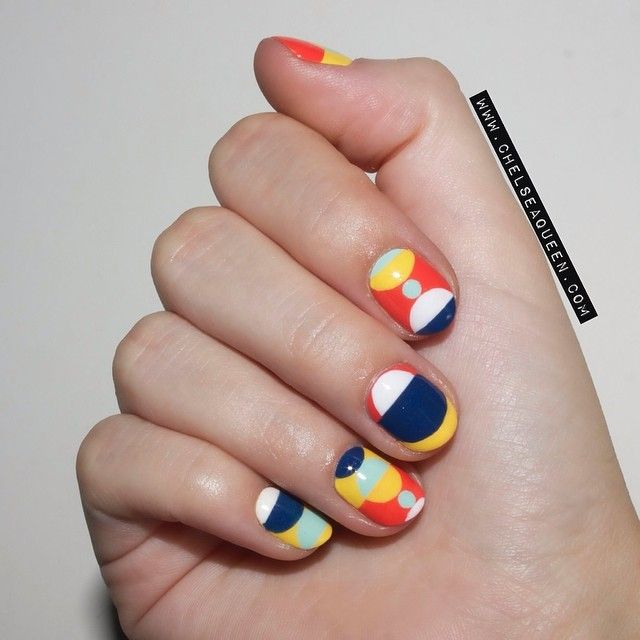 """I was inspired by a @marimekkoglobal dress for today's #nailart  I used mostly @opi_products for these, and all handpainted! #nodottingtools #notape"""