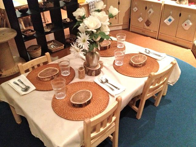 The use of real objects such as placemats, cups, forks, wooden plates, tins, wooden spoons, etc.  These can be more engaging and meaningful to role playing when chosen carefully. For more inspiring play ideas: http://pinterest.com/kinderooacademy/imagine-dream-pretend-play/ ≈≈