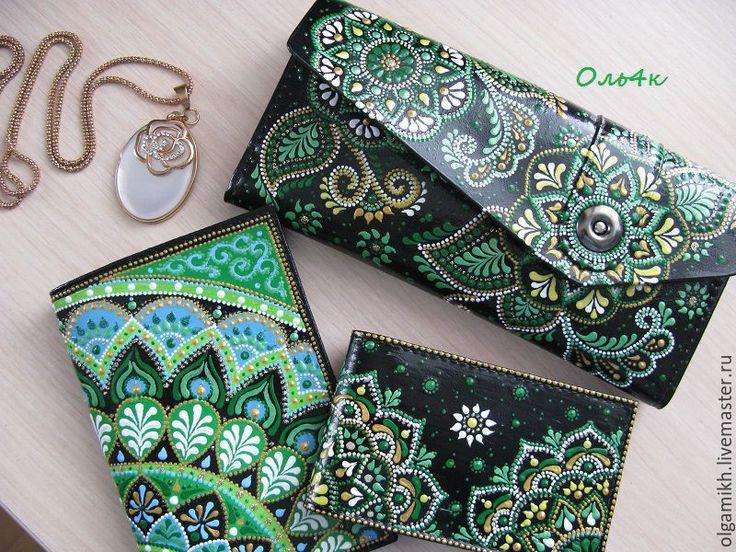 Купить Женский кошелек Зеленый. Точечная роспись. - цветочный, светло-зеленый, зеленый, кошелек женский
