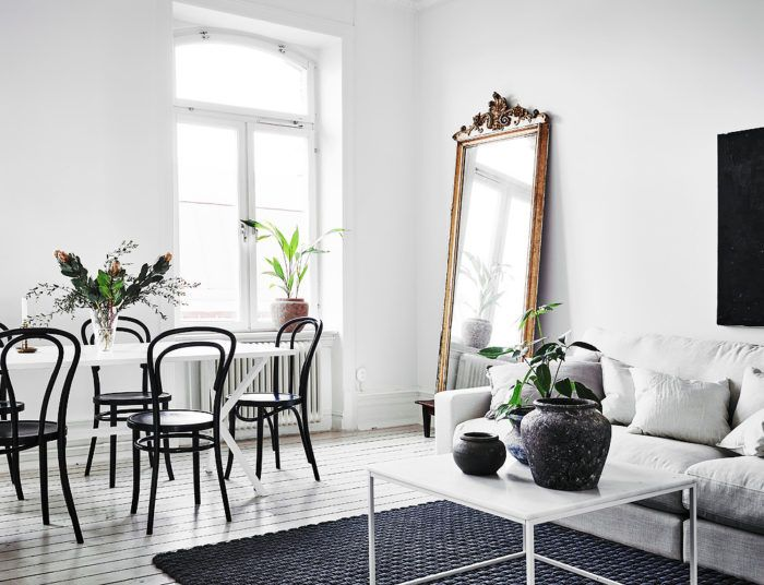 Beautiful french interior ideas and inspiration. Decorate your home like  parisian. Antique gold mirror and white interior.