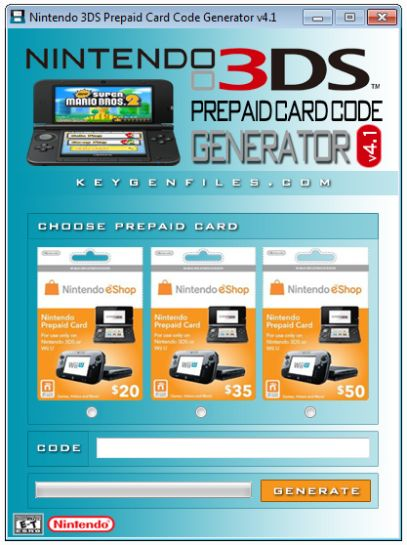 3ds Prepaid Card Code Generator 2017