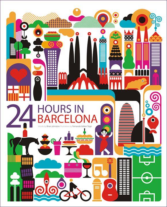 24 Hours In Barcelona Poster: 24 Hour, Volken Togni, Poster, Graphics Design, Barcelona, Fernando Volken, 24Hour, Place, Cities Illustrations