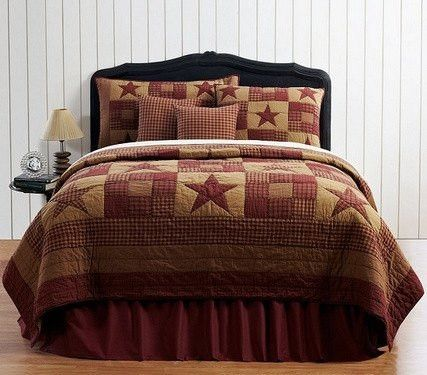 """Ninepatch Star Patchwork Block Queen Quilt  Queen quilt measures 90x90"""" Made from 100% cotton Part of our Ashton and Willow collection Wash and Care instructions   Create a simple getaway with our Ni"""