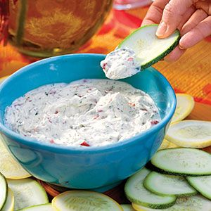 Looks like a great Summer dip: yogurt, mayo, cilantro, lime juice, hot sauce, salt, green onion, and red bell peppers