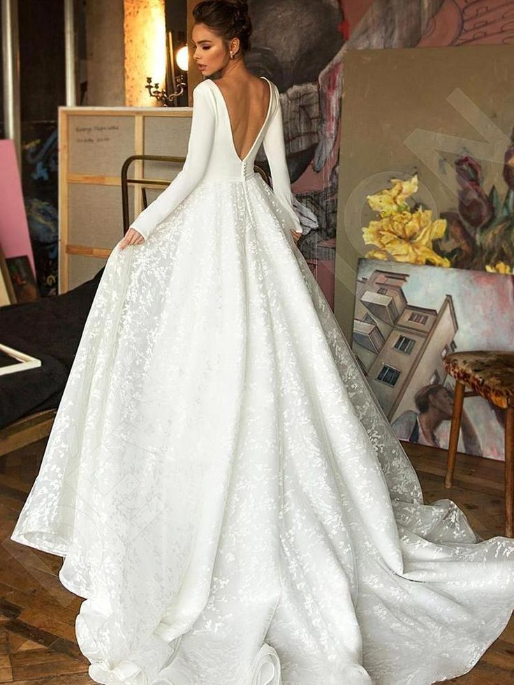 onlybridals Classic Lengthy Sleeve Lace Satin Wedding ceremony Gown Horny Deep V Neck Backless Bride Gown for Wedding ceremony