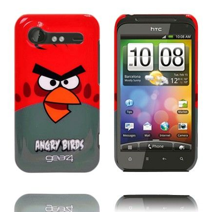 Angry Birds HTC Incredible S Cover (Rød Top - Teal Bund)
