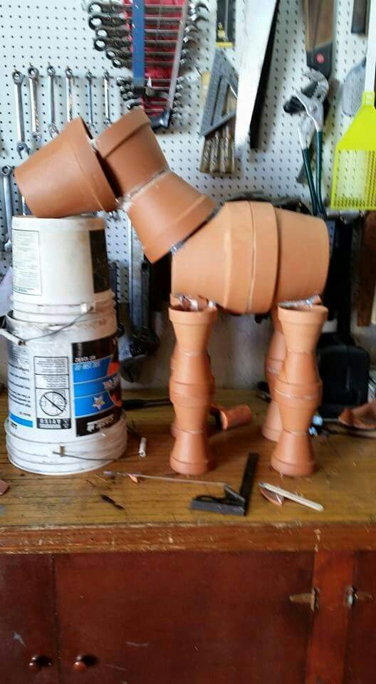 Clay pot horse sculpture