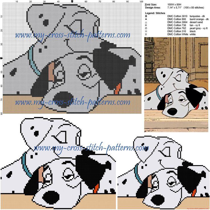 Pongo and Peggie cross stitch pattern