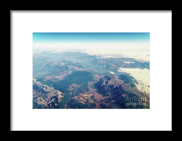 Airplane View Of Planet Earth Horizon Framed Print