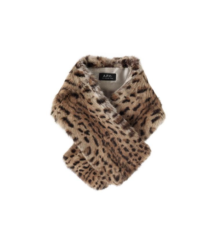 Leopard-motif fur collar