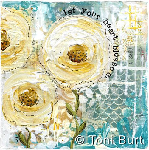 let your heart blossom....mixed media artwork by Toni Burt....gorgeous old fashioned shabby yellow roses feature on mixed media background of old vintage papers and wallpaper with acrylic paints.