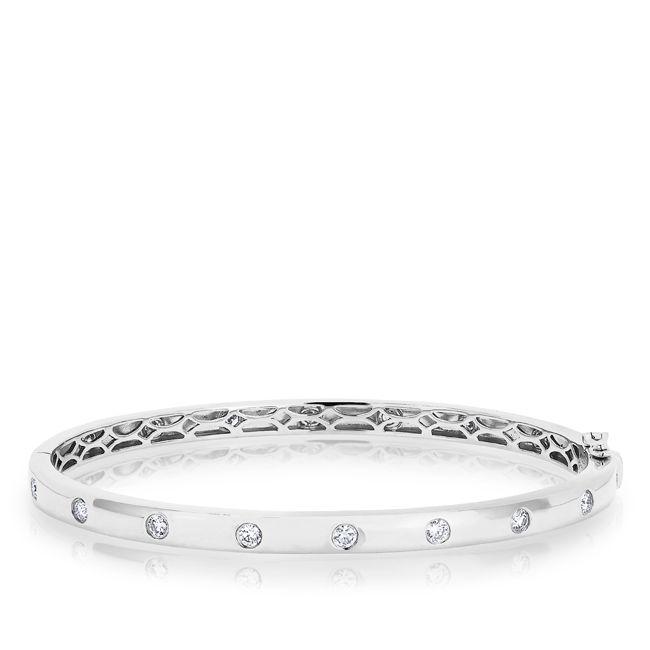 14KT  White Gold Sparkle Full Diamond Bangle Bracelet