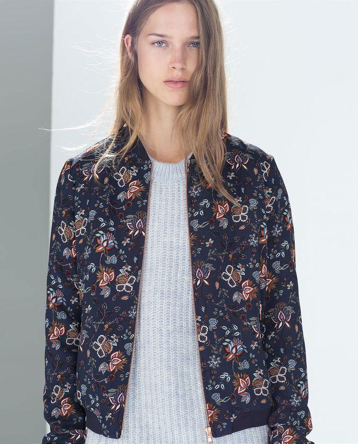 image 2 de veste bomber fleurs de zara envie divers pinterest vestes bomber parkas et vestes. Black Bedroom Furniture Sets. Home Design Ideas