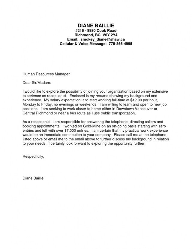 26+ Receptionist Cover Letter Sample . Receptionist Cover Letter