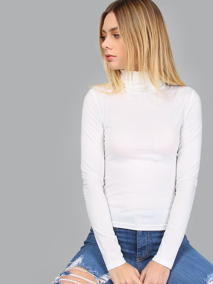 Shop White Turtleneck Long Sleeve Slim Fit T-shirt online. SheIn offers White Turtleneck Long Sleeve Slim Fit T-shirt & more to fit your fashionable needs.