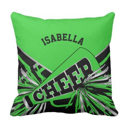 Cheerleader Outfit in Lime Green Silver and Black Throw Pillow - trendy gifts cool gift ideas customize