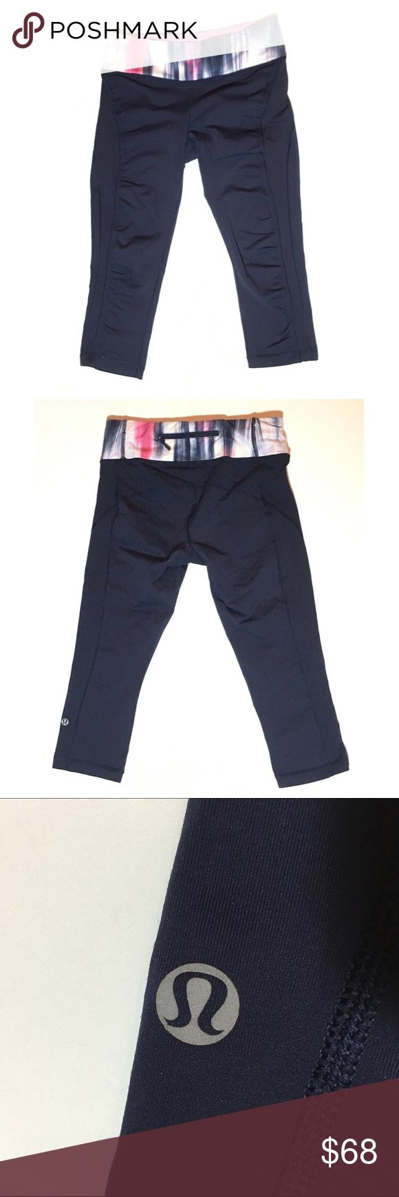Lululemon Run Sun Sprinter Crop Deep indigo and mirage waistband crop. Excellent condition! No trades, lowest, or lowballs please! Happy to consider reasonable offers through the offer feature. No modeling - please refer to stock photos online :) lululemon athletica Pants Ankle & Cropped