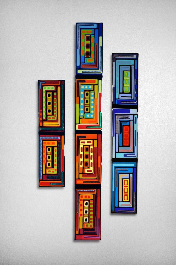 Log Cabin Triptych Wall Panels by Helen Rudy (Art Glass Wall Sculpture