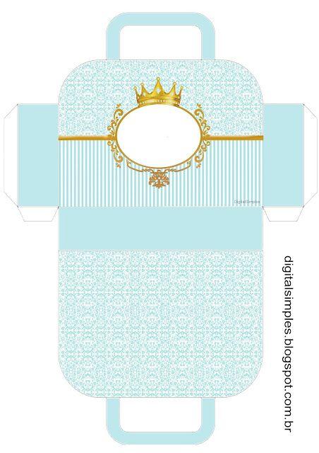 Corona Dorada en Fondo Celeste: Caja con forma de Maleta para Imprimir Gratis.