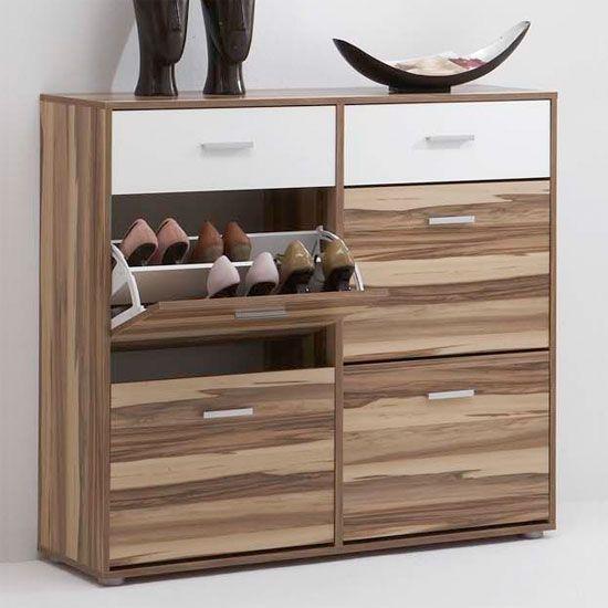 bozen2 baltimore walnut and white shoe cabinet parental. Black Bedroom Furniture Sets. Home Design Ideas
