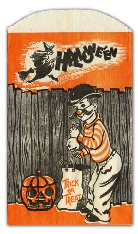 Vintage Halloween Candy Bag Costumed Boy With Trick Or Treat