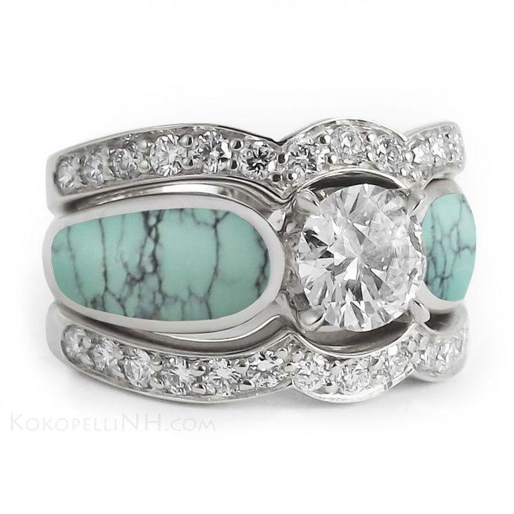 Stormy Sky One Carat Turquoise Diamond Engagement Ring Engagement Rings Kokopelli Of N Turquoise Wedding Rings Turquoise Diamond Rings Handmade Wedding Rings