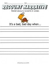 Recount Narrative (W.1.3)- A Bad Day Writing Prompt