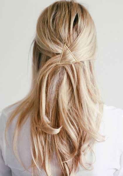 Accent your gorgeous locks with this gold triangle hair clip. It features triangle silhouette design in gold color. | Lookbook Store New Arrivals