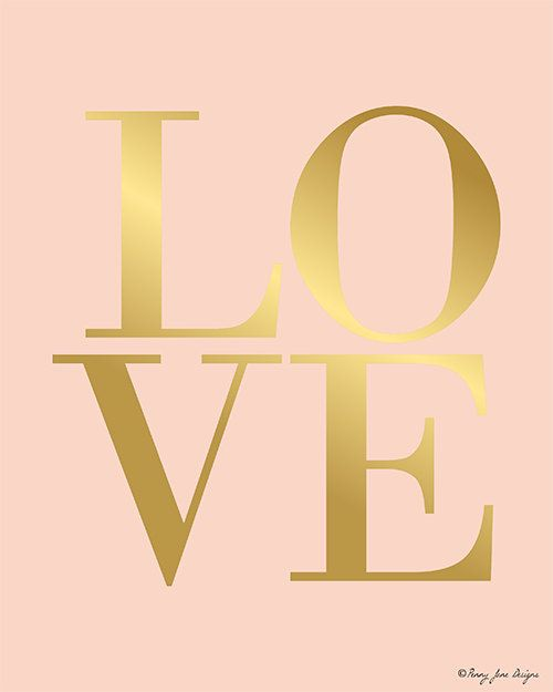 Gold and Pink Love Digital Printable Instant by PennyJaneDesign