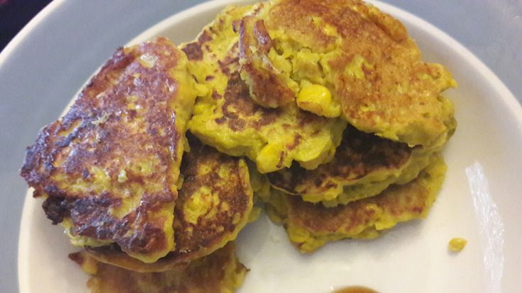 Fritters: mixed peas and corn, 1 egg and 2 tablespoons of flour