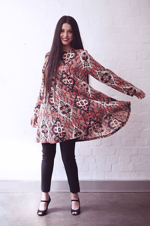 Swing Dress in Kilim http://cakeclothing.net/collections/winter-15/products/swing-dress-kilim