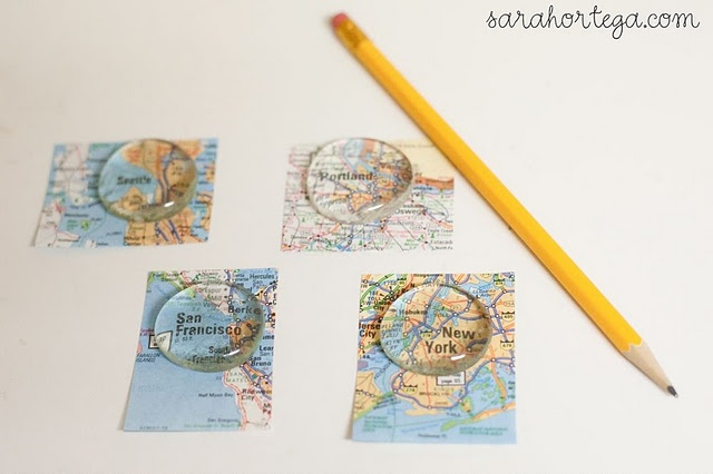 DIY map magnets (could probably do as necklace too)