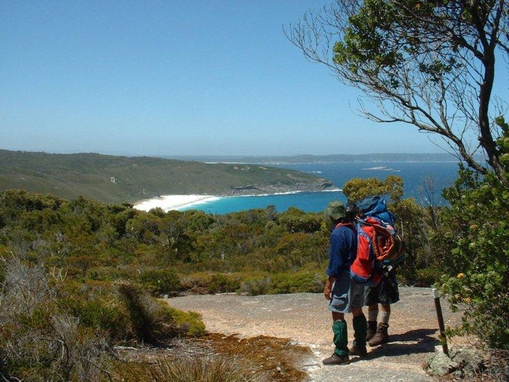 The Bibbulmun Track - walkers looking towards Dingo Beach