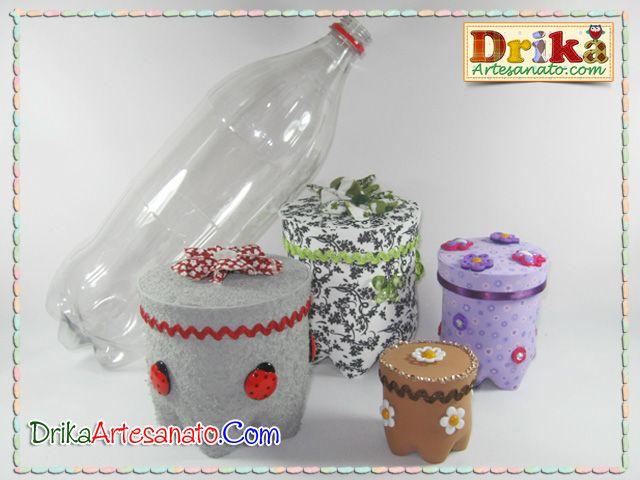 Artesanato com garrafa pet: potes decorados - Drika Artesanato