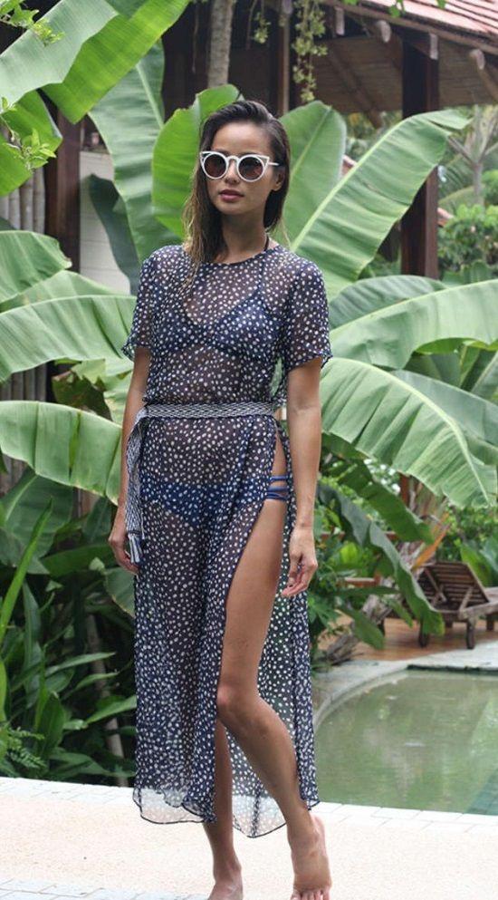 Jamie Chung – Wearing a Bikini at a Pool in Costa Rica