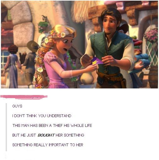 Adorable!! Eugene probably hasn't bought anything in a long time, but he buys a lot of stuff for Rapunzel. This just shows how much he's changing and how much he cares about her :)