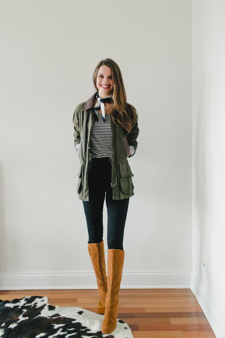 Capsule Wardrobe Remix: Ponte Pants Four Ways–style with a classic striped tee, neck scarf, and Barbour beadnell coat!