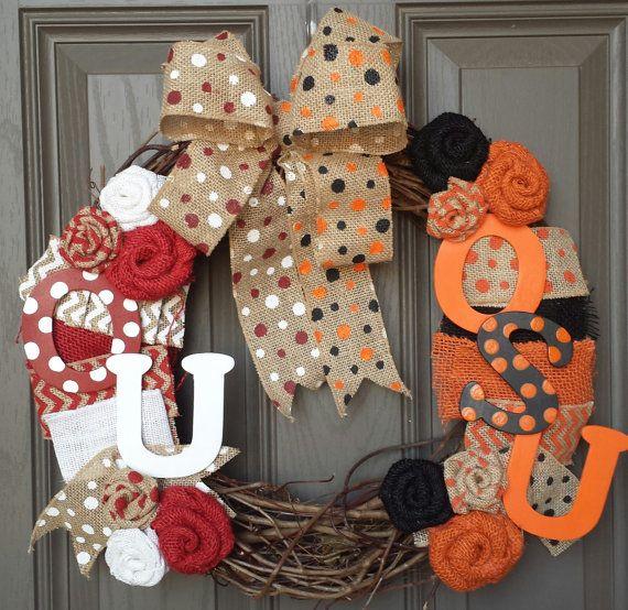 OU/OSU house divided wreath