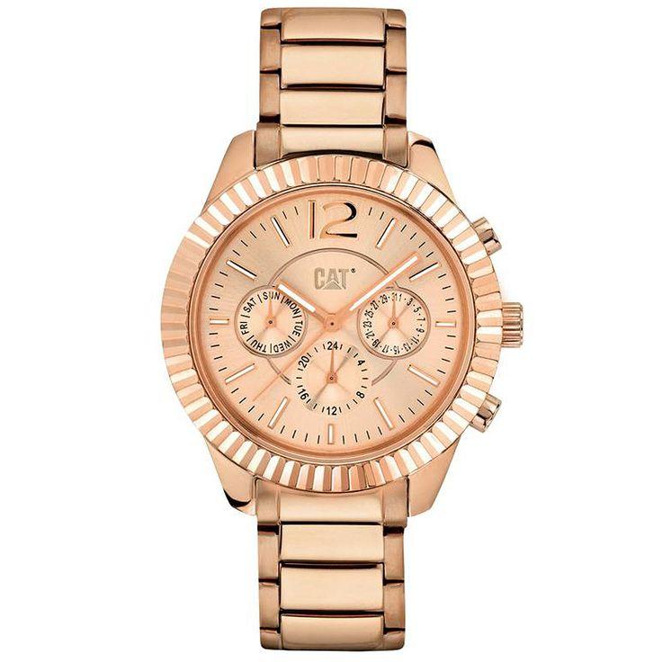 Ρολόγια : Ρολόι Caterpillar L6 Multifunction Crystals Rose Gold Steel Bracelet