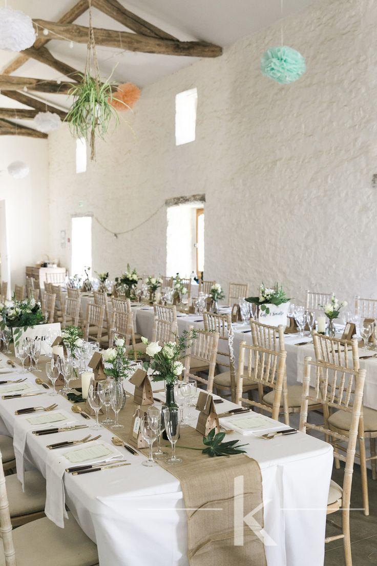 Barn wedding styling on long tables